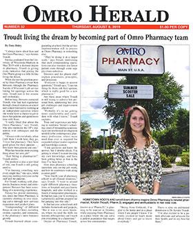 Kristin Troudt Pharmacist Article in the Omro Herald
